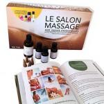 Ensemble pour massages comprenant livre et huiles essentielles