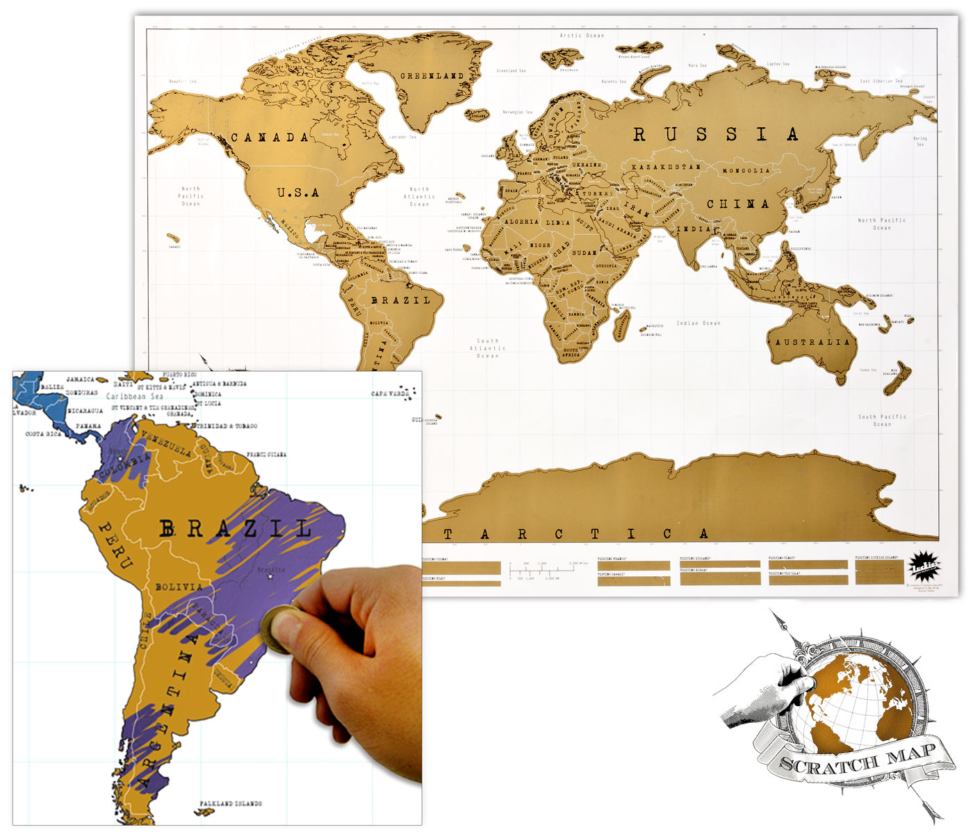 carte du monde 224 gratter id 233 e cadeau qu 233 bec