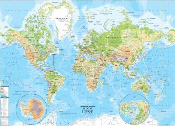 Cliquez ici pour acheter Carte du monde en relief