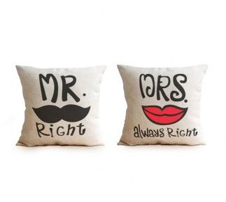Housses de coussins Mr & Mrs Right