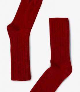 Bas de laine Agneau et Mérinos rouge pour femme
