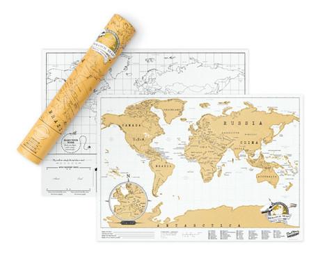 Carte du monde à gratter compacte