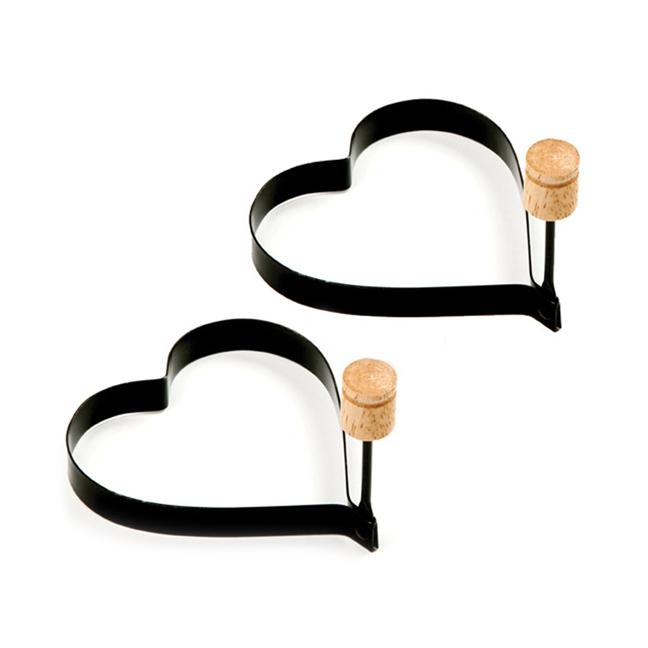Ensemble de 2 moules en forme de coeur à oeufs/crêpes