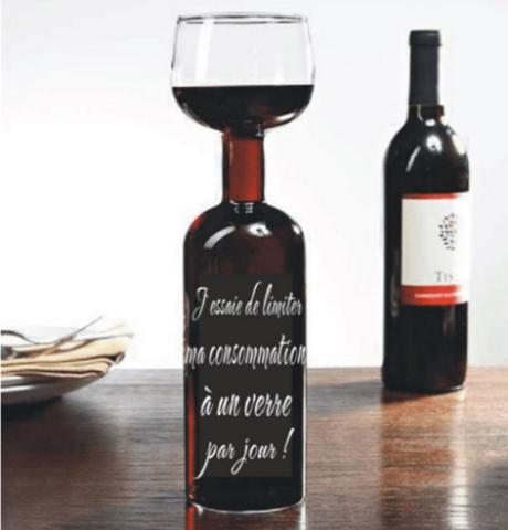 Verre à vin format bouteille
