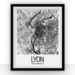 Carte de Lyon - Style Art Déco