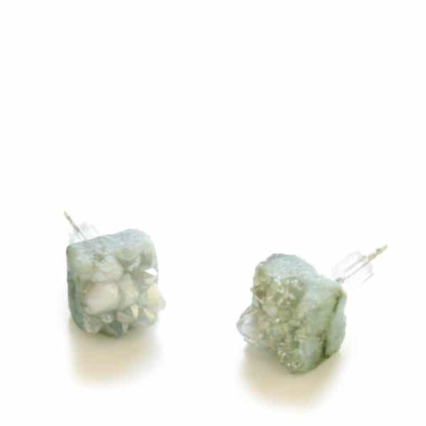 Boucles d'oreille – Quartz menthe