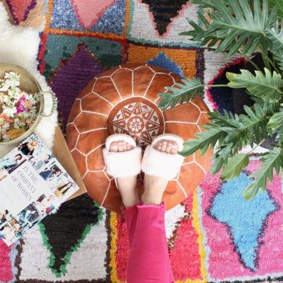 Poufs marocains en cuir – Brun naturel
