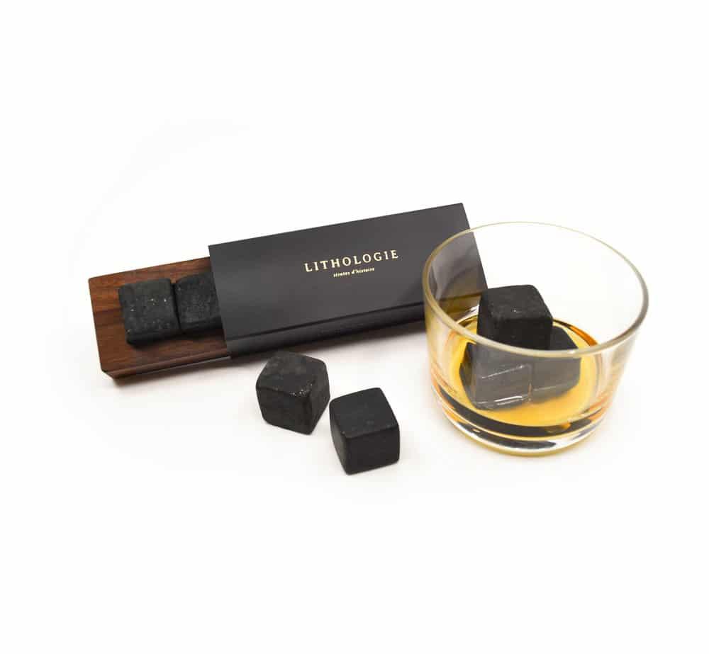 Pierre à Whisky (4) – Granulite foncée et boitier en Noyer