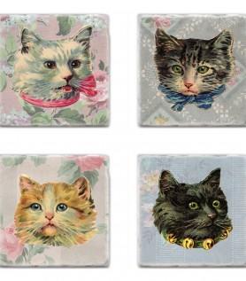 Sous-verres avec chats vintage