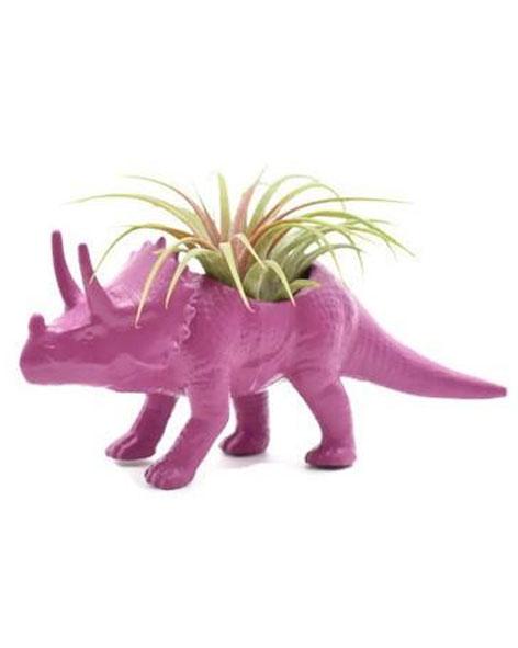 Tricératops magenta avec plante