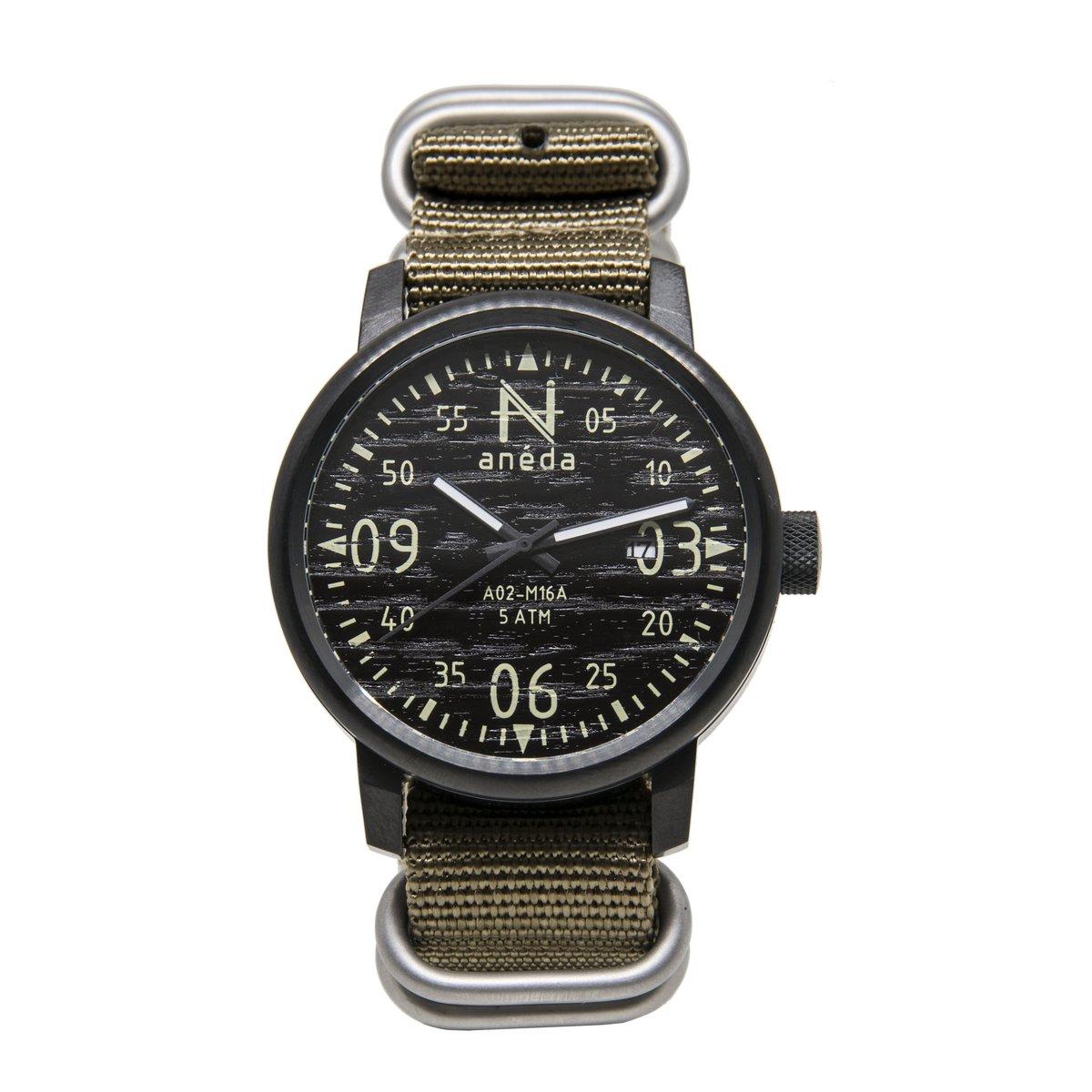 Cliquez ici pour acheter Montre Anéda Compass – Ébène et nylon kaki