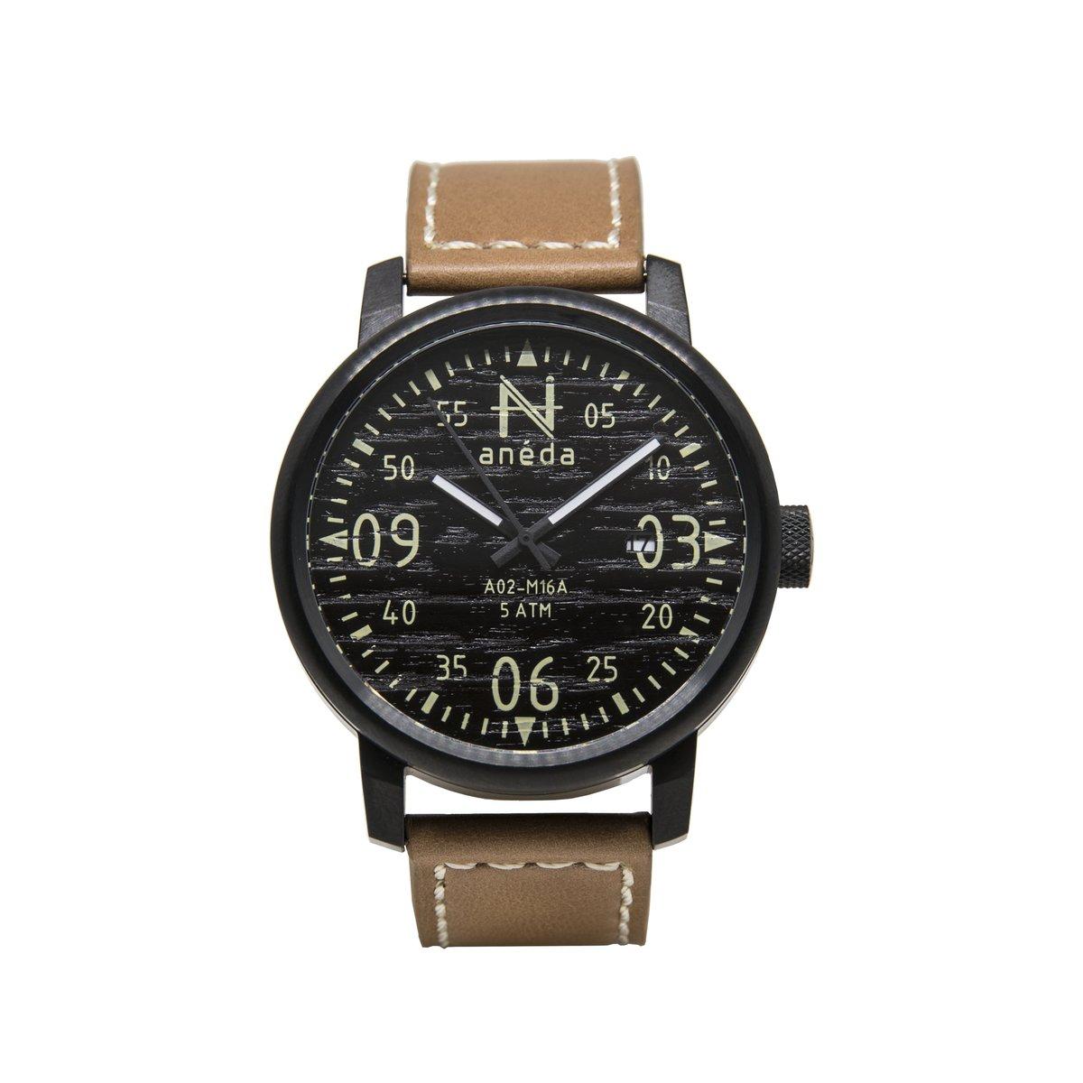 Cliquez ici pour acheter Montre Anéda Compass – Ébène et cuir beige