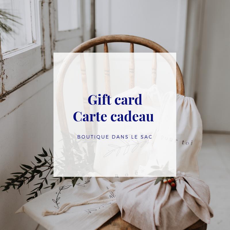 Cliquez ici pour acheter Carte-cadeau – Dans le sac