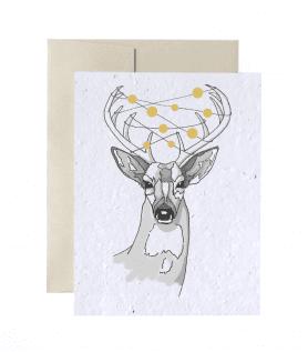 Carte à planter – Cerf de Noël