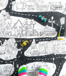 Affiche géante à colorier – La ville