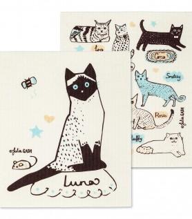 Essuie-tout réutilisable avec chats