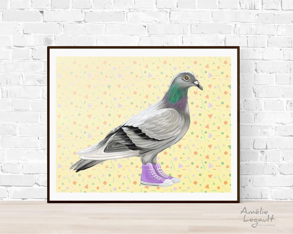 Cliquez ici pour acheter Affiche – Pigeon en Converse