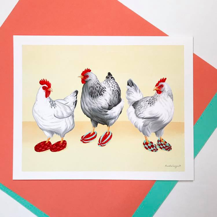 Cliquez ici pour acheter Affiche – Poulets en pantoufles phentex