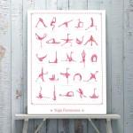 Affiche flamants roses - 25 postures de Yoga