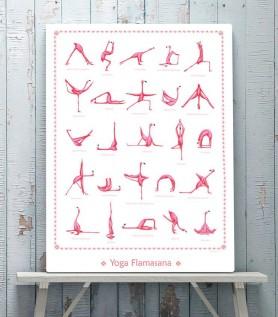 Affiche flamants roses – 25 postures de Yoga