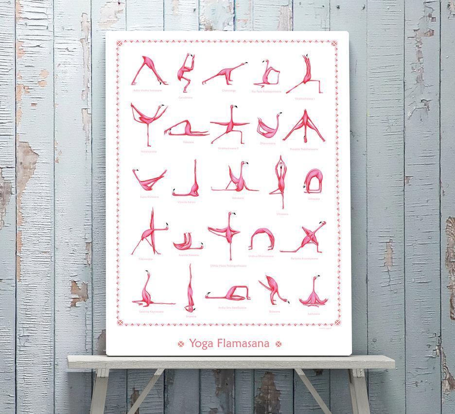 Cliquez ici pour acheter Affiche flamants roses – 25 postures de Yoga