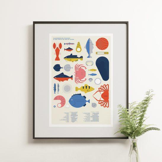 Cliquez ici pour acheter Affiche – Poissons & Fruits de mer de saison