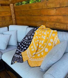 Serviette en microfibre – Mandala jaune & noir