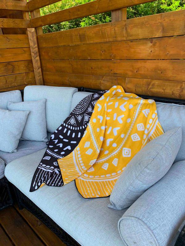 Cliquez ici pour acheter Serviette en microfibre – Mandala jaune & noir