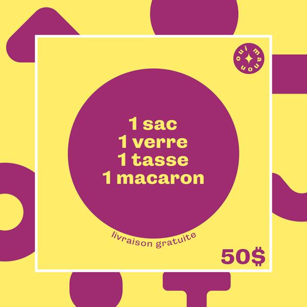 Cliquez ici pour acheter OUI MANON – 1 sac + 1 verre + 1 tasse + 1 macaron