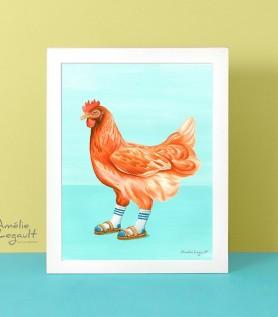 Affiche – Poulet en sandales