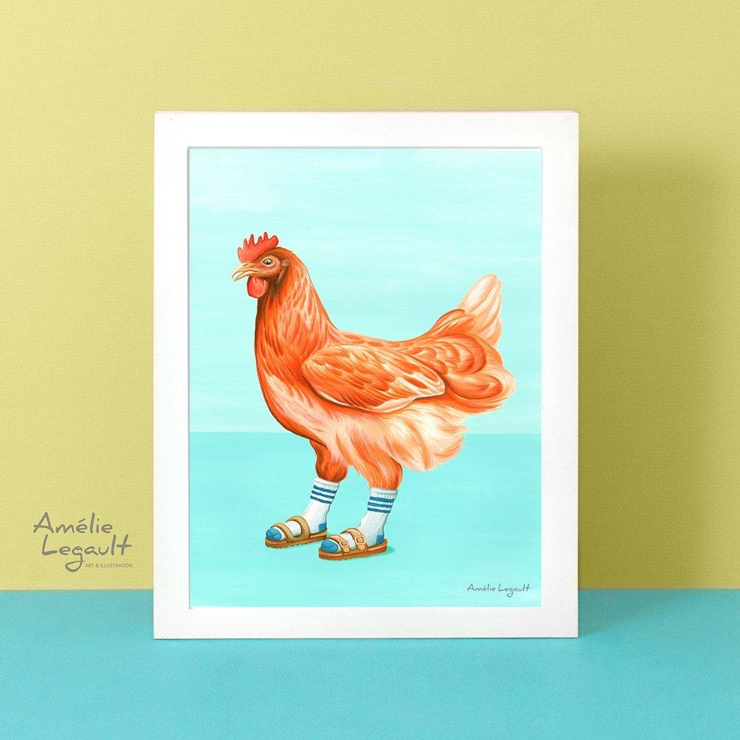 Cliquez ici pour acheter Affiche – Poulet en sandales