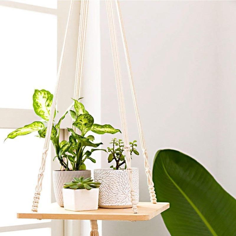 Cliquez ici pour acheter Support pour plantes – Tablette & macramé