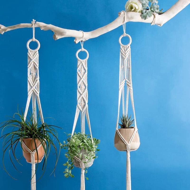 Cliquez ici pour acheter 3 supports en macramé pour plantes