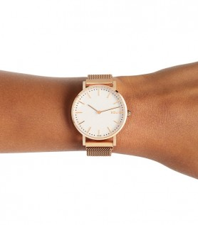 Montre solaire Solar Blanc | Maille Or Rose