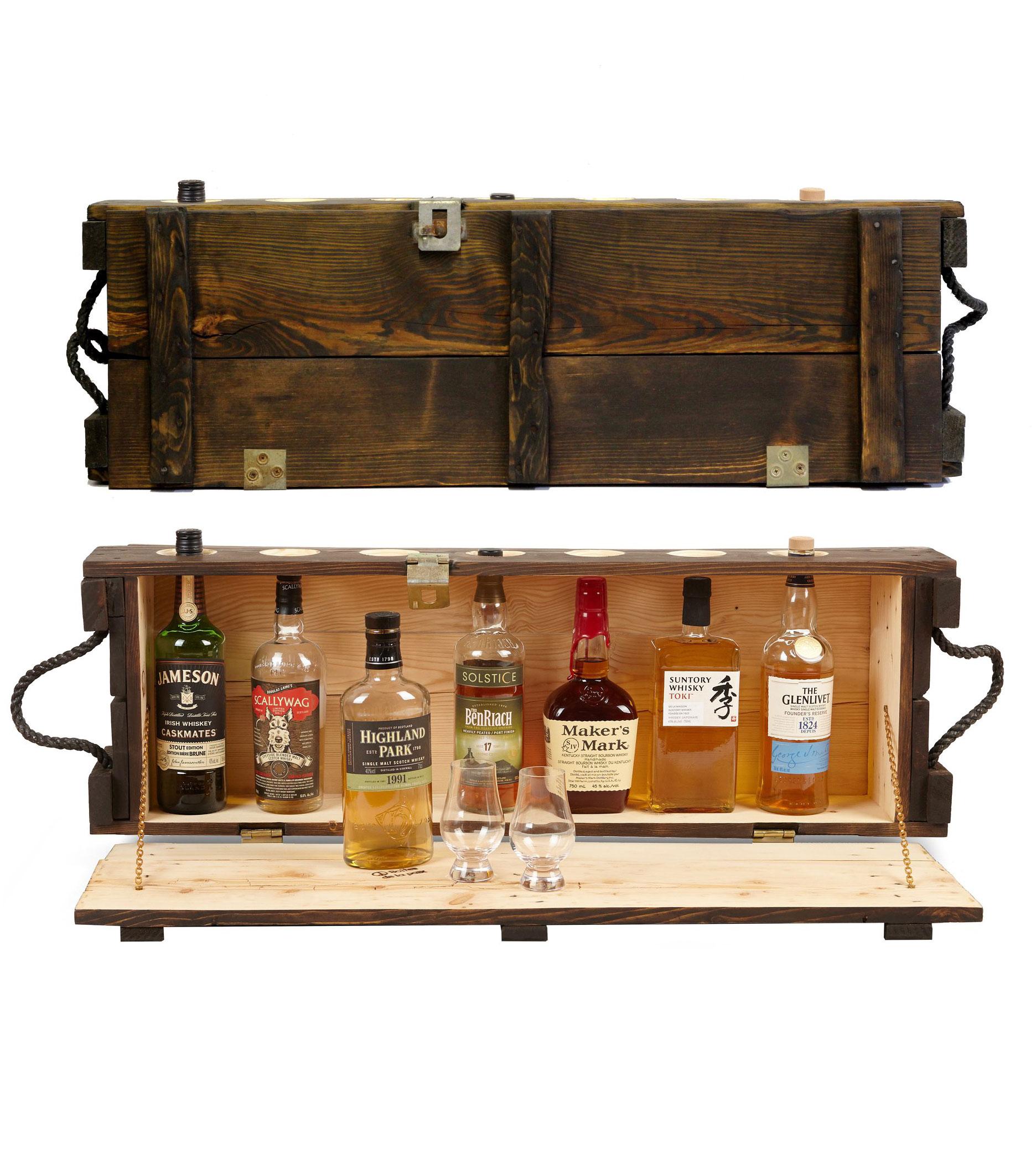 Cliquez ici pour acheter Mini bar en bois – Ancienne boîte de munitions