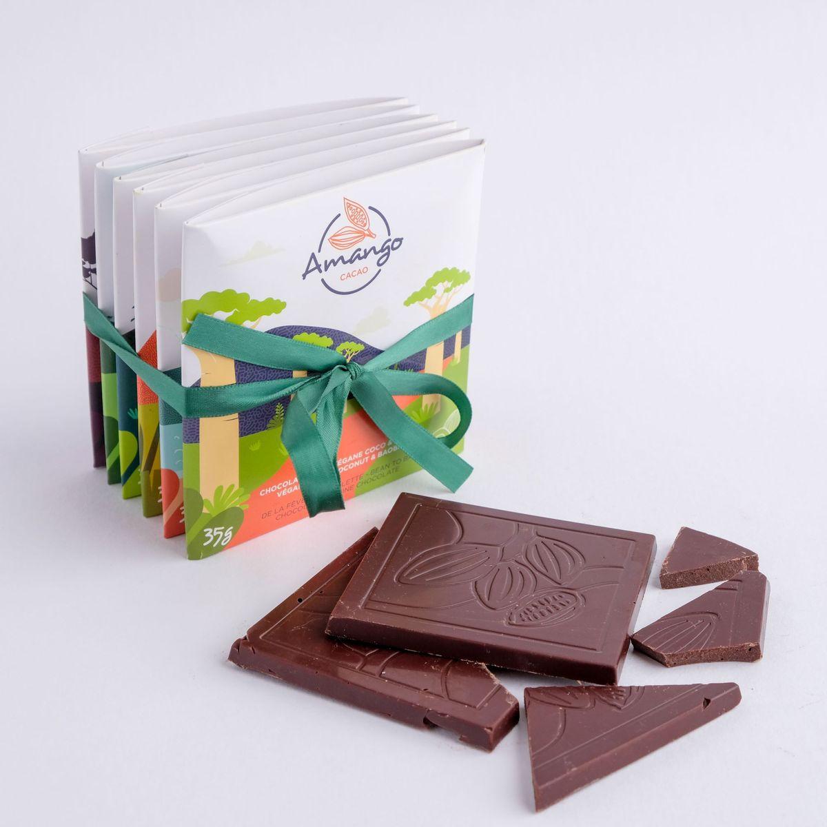 Cliquez ici pour acheter Ensemble découverte – 6 tablettes de chocolat Amango