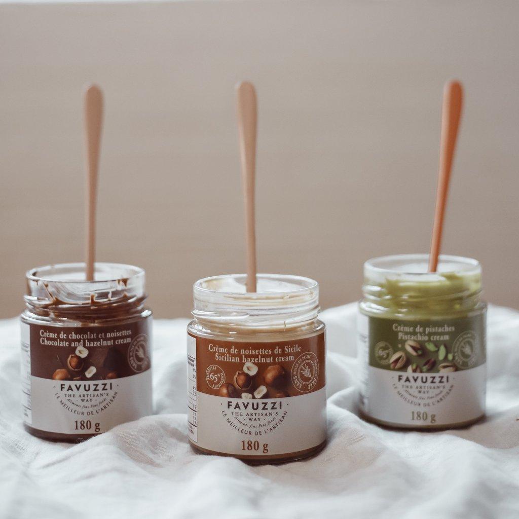 Cliquez ici pour acheter Trio de tartinades – Pistache, noisette & choco-noisette