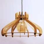 Lampe suspendue vintage en bois - Merisier & Chêne