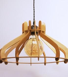 Lampe suspendue vintage en bois – Merisier & Chêne