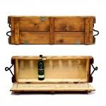 Mini bar en bois sienna - Ancienne boîte de munitions