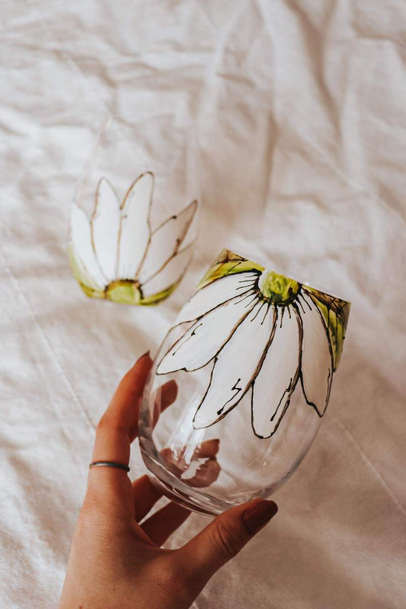 Cliquez ici pour acheter Duo de verres sans pied – Fleurs blanches