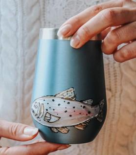 Verre isolant avec poisson peint à la main