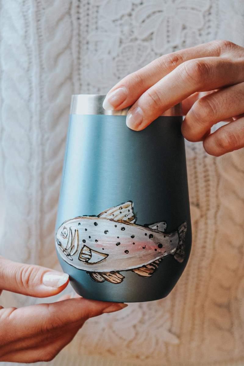 Cliquez ici pour acheter Verre isolant avec poisson peint à la main