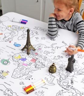Nappe éducative à colorier – Carte du monde