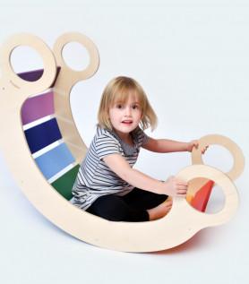Bascule en bois multicolore pour enfants